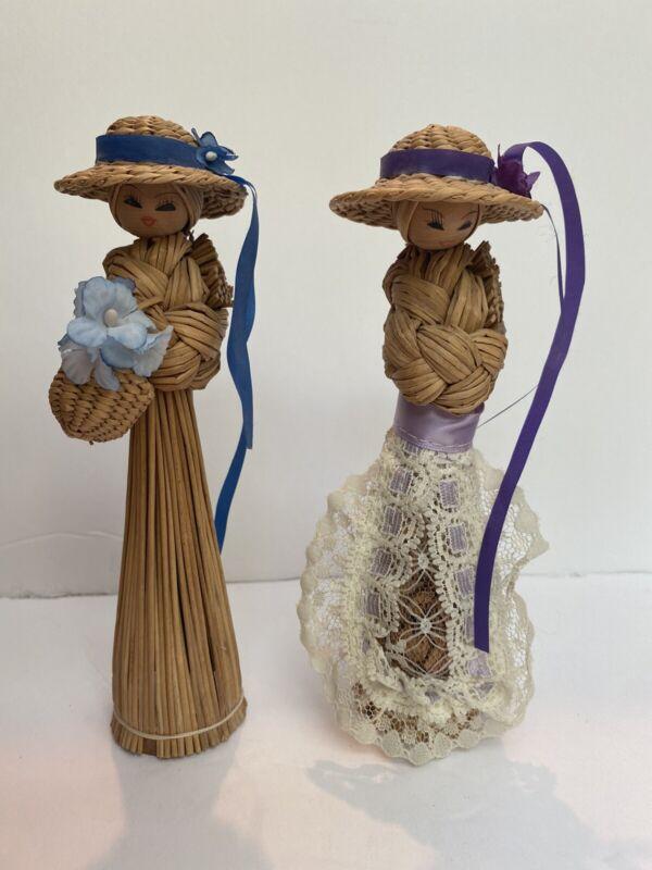 vintage straw dolls