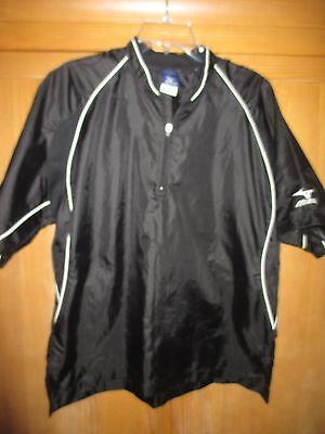Mizuno 1/4 Zip Short Sleeve Cage Jacket/Wind Shirt~ Black~ Small 1/4 Zip Windshirt