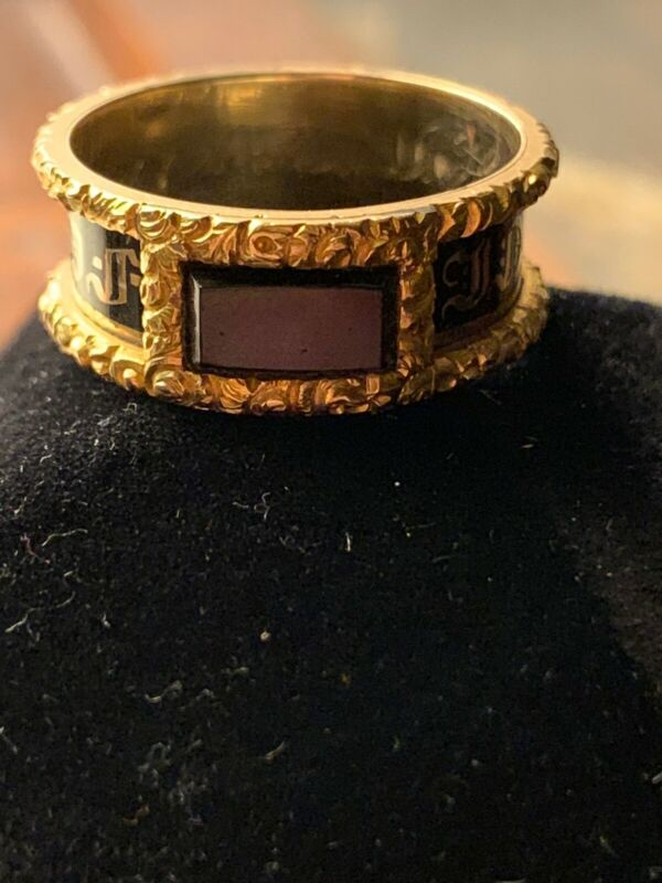 Victorian Mourning Ring Band Gold 14k Onyx