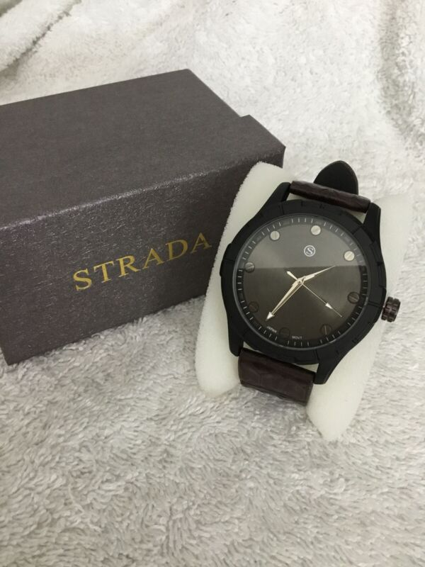 Strada+Japanese+Movement+Water+Resistance+Black%2FBrown+Watch+New+7.25%2F9%E2%80%9D