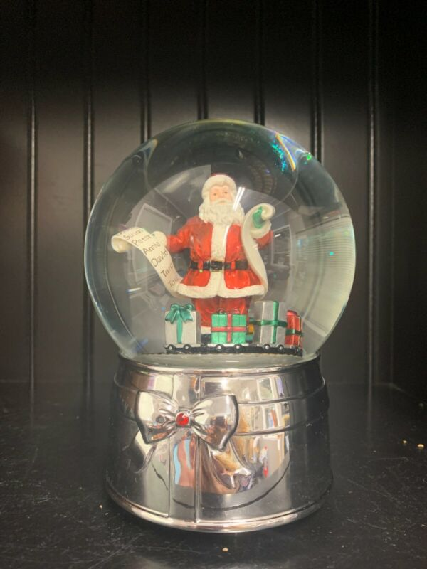 """REED & BARTON Snow Globe Musical """"We Wish You a Merry Christmas"""" Silverplate"""