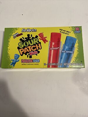 Sour Patch Kids Freezer Bars from Fla-Vor-Ice 10-Pops Freeze & Eat RedberryRaspb