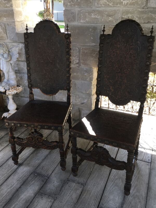 ANTIQUE PAIR FRENCH RENAISSANCE REVIVAL LEATHER SIDE CHAIRS GOTHIC GARGOYLE ORIG