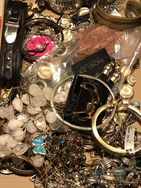 3.5 Lbs VTG-Now Jewelry METALLIC LOT Estate Wearable RESALE