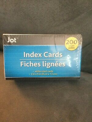 Jot Index Cards 200 Count White Ruled 3 X 5 - New In Package