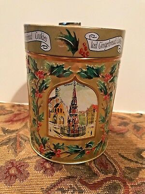 Lambertz Aachen 1999 Gold Christmas Musical Iced Gingerbread Cookies Tin Germany ()