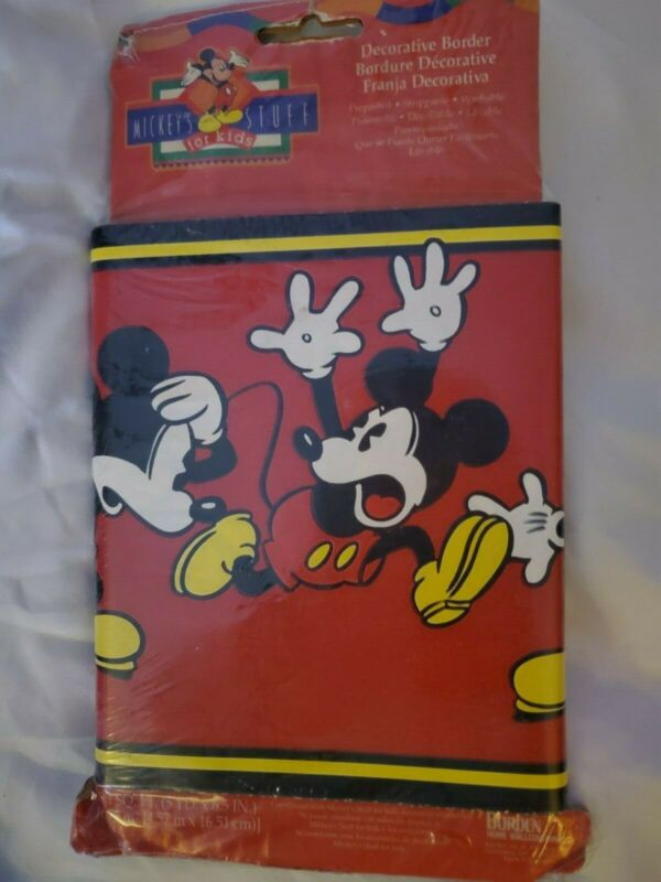 Vintage Mickeys Stuff For Kids Decorative Border. Mickey Mouse 5 yard 6.5 in...