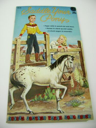 VTG PAPER TOY DOLLS 1961 SADDLE PONY GOLDEN FUNTIME PUNCH BOOK UNUSED!!! giant