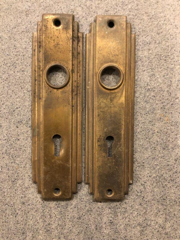 🏅PAIR Antique/Vintage Ornate Back Plates, Victorian, Art Deco, Door Hardware