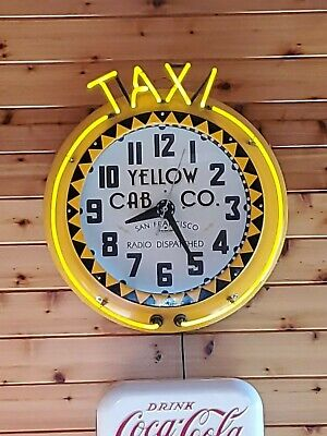 """Vintage Electric Neon Clock Co.""""Yellow Cab Co. SF"""" Excellent condition"""