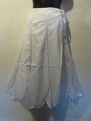 Skirt Fits M L XL Wrap Around Waist Long White Panel Ribbon Trim Embroidery J404