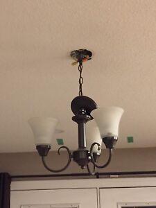 Metal bronze three light chandelier