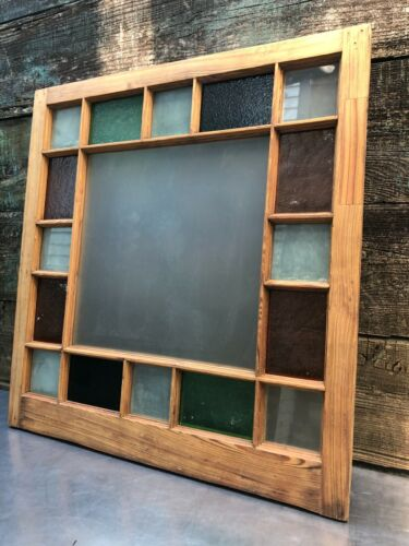 34x36 ANTIQUE NEW ORLEANS STAINED GLASS WINDOW ARCHITECTURAL SALVAGE