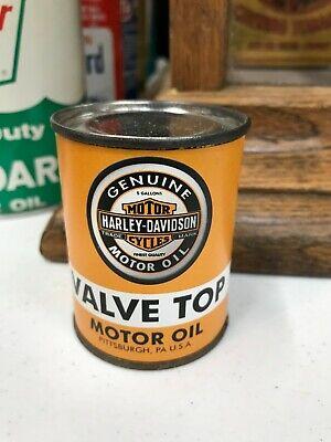 """HARLEY DAVIDSON VALVE TOP MOTOR OIL"" SALESMAN SAMPLE METAL OIL CAN, NICE"