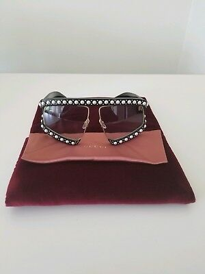 Gucci Rectangular Frame Sunglasses With Pearls Nwt