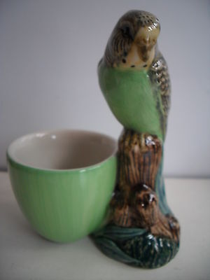 BUDGIE (GREEN) WITH EGG CUP BY QUAIL POTTERY NEW AND BOXED,GREAT GIFT IDEA