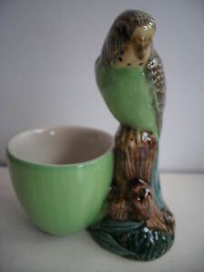 BUDGIE WITH EGG CUP BY QUAIL POTTERY NEW AND BOXED,GREAT GIFT IDEA