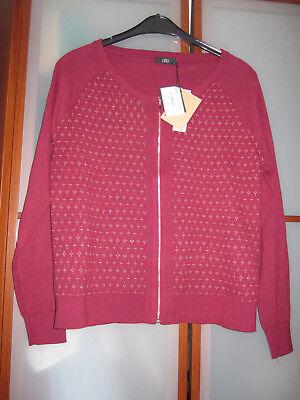 Burgund Strickjacke (LINCI STRICKJACKE  Jacke Pullover NEU mit Etikett Gr.46 ca 42) mit Lurex burgund)