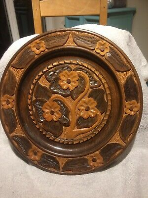 Beautiful Antique Vintage Carved Wooden Plate Must See