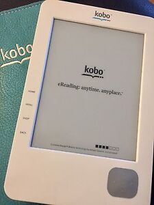 Kobo e-reader with leather case