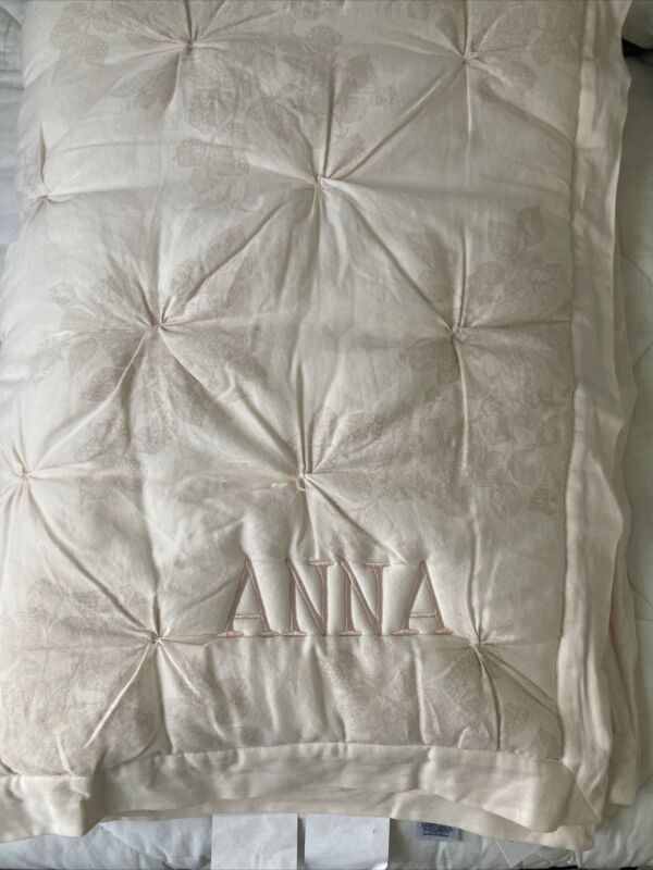 """$159 POTTERY BARN KIDS Monique Lhuillier Ethereal Lace Toddler Quilt Mono """"ANNA"""""""