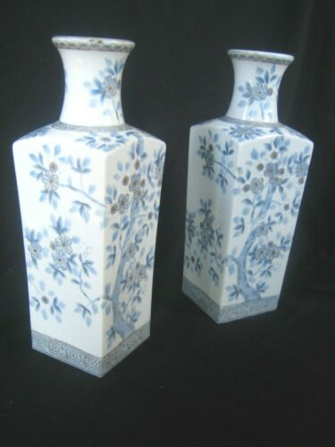 "Vintage Fukajawa Vases Pair Tall 14"" Japan hand painted Cherry Blossoms"