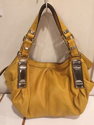 B Makowsky Women's Genuine Leather Yellow Gold Handbag Plain Pebble Tote Purse