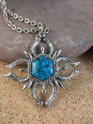 "Vintage Blue Faux Turquoise Star Pendant 24"" Silver-tone Chain Necklace #251"