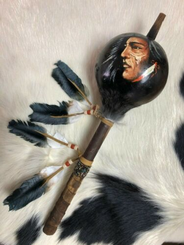 HAND PAINTED DANCE GOURD RATTLE , CEREMONIAL , SANTA FE STYLE , INDIAN FACE