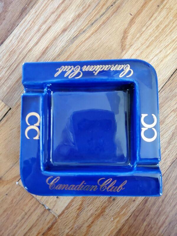 "Vintage Canadian Club Whiskey cobolt blue ash tray 5""by 5"""