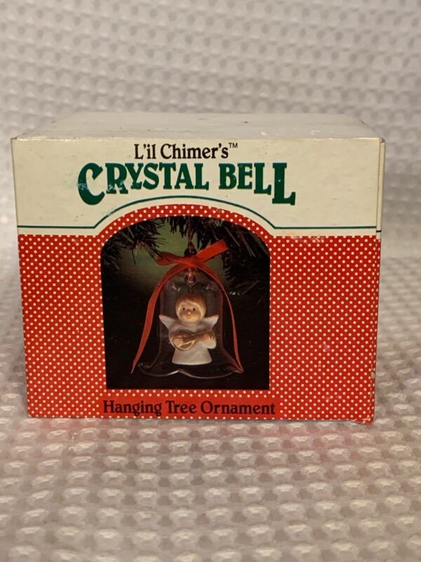 "Jasco Lil Chimers Crystal Bell Tree Ornaments Vintage Angel 3 1/2"""