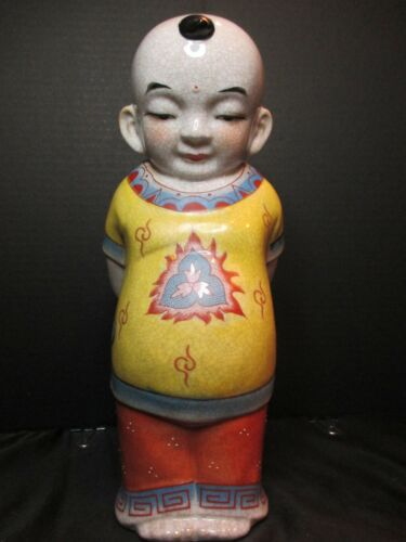"Chinese Asian 12 1/2"" Children Large Figurine Boy Crackle Glaze. Heavy"