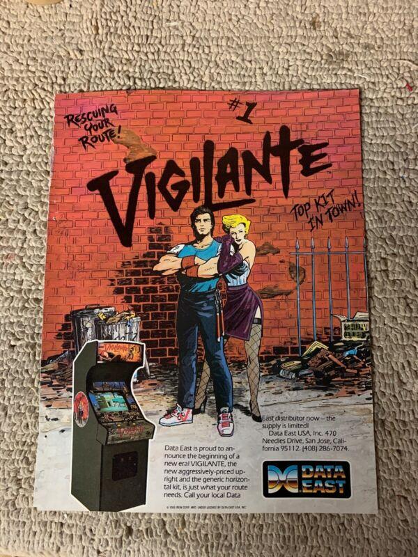 """11- 8 1/4"""" Vigilante Data East arcade video game AD FLYER"""
