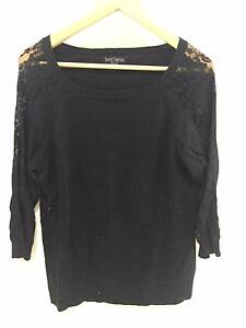 Just Jeans Black Light Jumper with lace sleaves, Size L Coorparoo Brisbane South East Preview