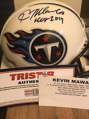 KEVIN MAWAE TITANS HOF AUTOGRAPHED MINI HELMET TRISTAR COA HOF 2019 (Signed Titans Mini Helmet)