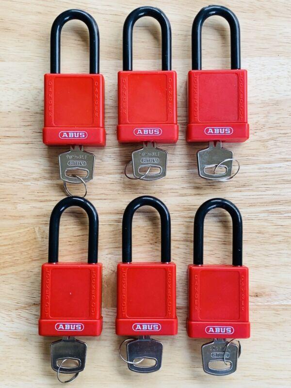6 x Abus 74/40 LOTO Padlocks w/ Keys (keyed different) Locksport