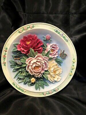 3D Bradford Exchange Beautiful Gardens Ceramic Plate - The Peony Garden