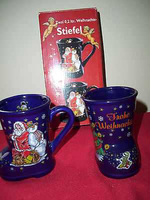 Stiefel cups mugs Weihnachts Blue Boot shaped cups w/Original Box  - Boot Shaped Mugs