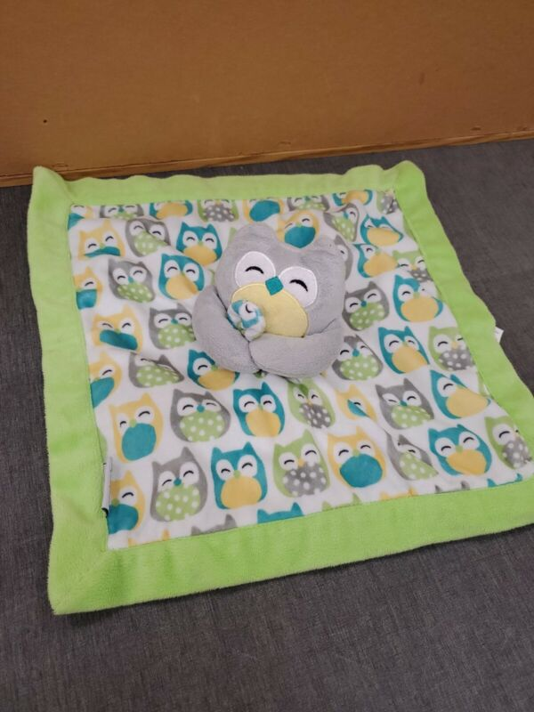 """Carter's Owl Green Gray Yellow Security Blanket Lovey 14"""" x 14"""""""