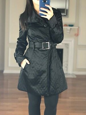 BEBE Button Front Quilted Lightweight Belted Trench Coat, Black, Women's XS Quilted Trench