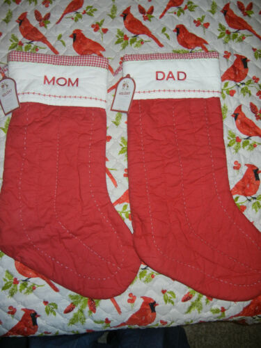 NEW Pottery Barn Red Quilted Mom & Dad Extra Large Christmas Stockings