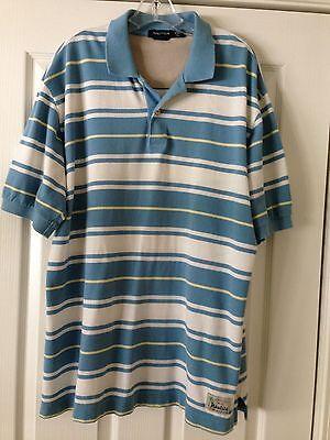 Nautica Quality Men's XL Short Sleeve Cotton Knit Golf Shirt - Sky Blue/White