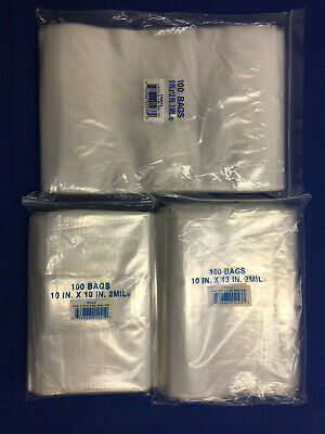 9x1210x1010x1210x13 Clear Plastic Ziplock Reclosable Poly Jewelry Bags 2mil