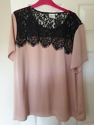 BNWOT Junarose size 22 lace and silk like nude blouse