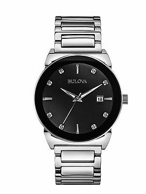 Bulova Men's 96D121 Diamond Accents Quartz Black Dial Silver Bracelet Watch