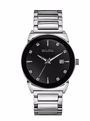 Bulova Men's Diamond Accents Quartz Black Dial Silver Tone Watch 40mm 96D121