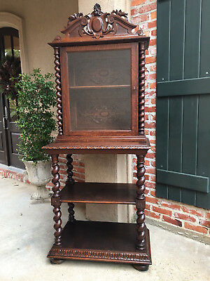 Antique French Carved Oak BARLEY TWIST Display Cabinet Shelf Bookcase Buffet, used for sale  Shreveport