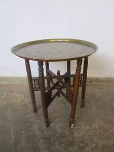 D20052 Vintage Oriental Brass Fold Up Side Table Mount Barker Mount Barker Area Preview