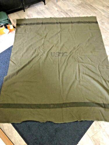Vintage Original WWII USMC Wool Blanket, Embroidered Chain Stitch