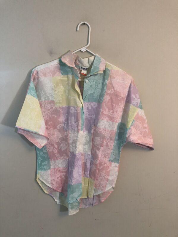 Vintage Ardmore Colorblock Pastel Blouse 1980's Size Large